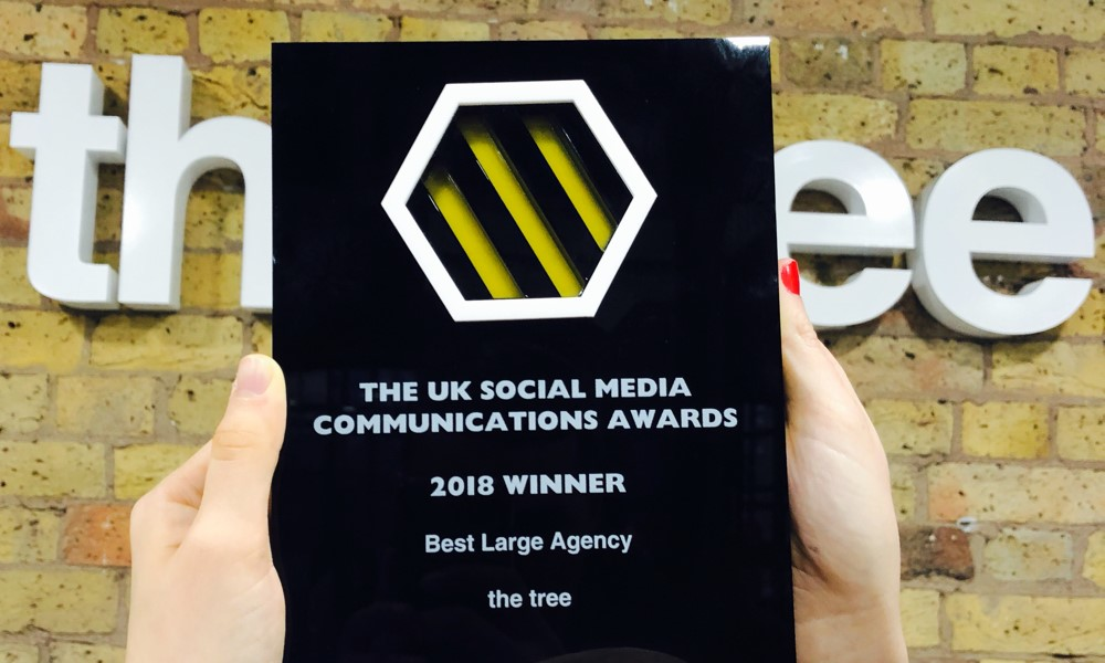 the tree Wins Best Large Agency at the UK Social Media Communications Awards